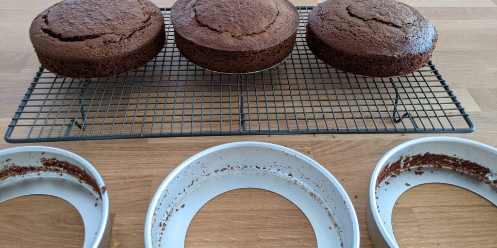 Cake tins after being lined