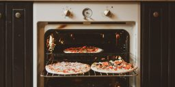 Pizzas in oven