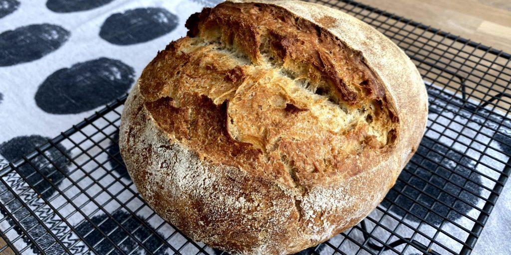 Sourdough bread on rack