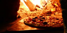 Pizza in wood fired oven